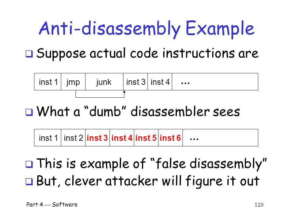 Part 4 Software 119 Anti-disassembly Anti-disassembly methods include o Encrypted or packed object code o False disassembly o Self-modifying code o Many other techniques Encryption prevents disassembly o But still need plaintext code to decrypt code.