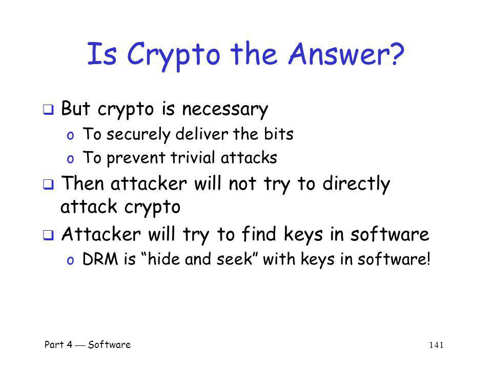 Part 4 Software 140 Is Crypto the Answer.