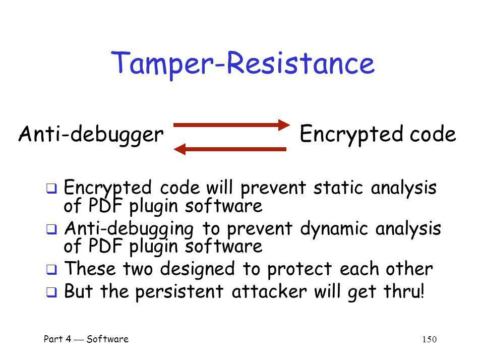 Part 4 Software 149 Security Overview Obfuscation Tamper-resistance A tamper-resistant outer layer Software obfuscation applied within