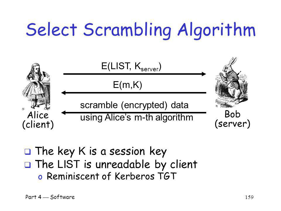 Part 4 Software 158 Server-side Scrambling On server side data scrambled data encrypted scrambled data Server must scramble data with an algorithm the client supports Client must send server list of algorithms it supports Server must securely communicate algorithm choice to client