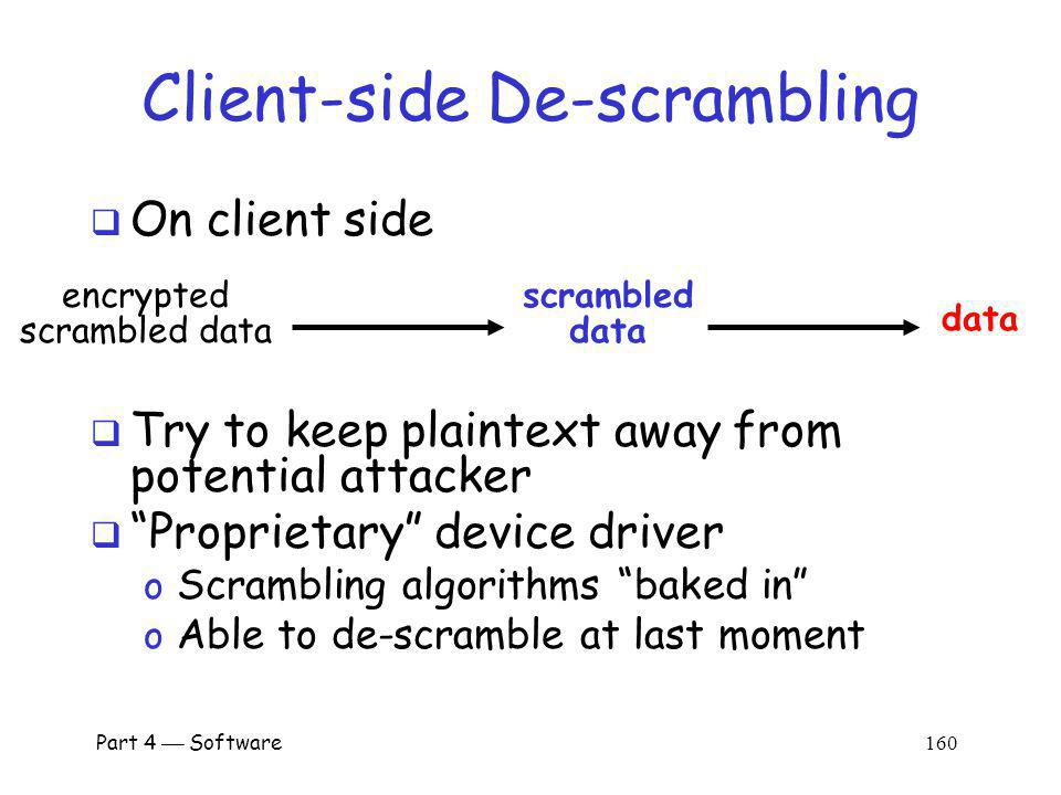 Part 4 Software 159 Select Scrambling Algorithm The key K is a session key The LIST is unreadable by client o Reminiscent of Kerberos TGT Alice (client) Bob (server) E(LIST, K server ) E(m,K) scramble (encrypted) data using Alices m-th algorithm