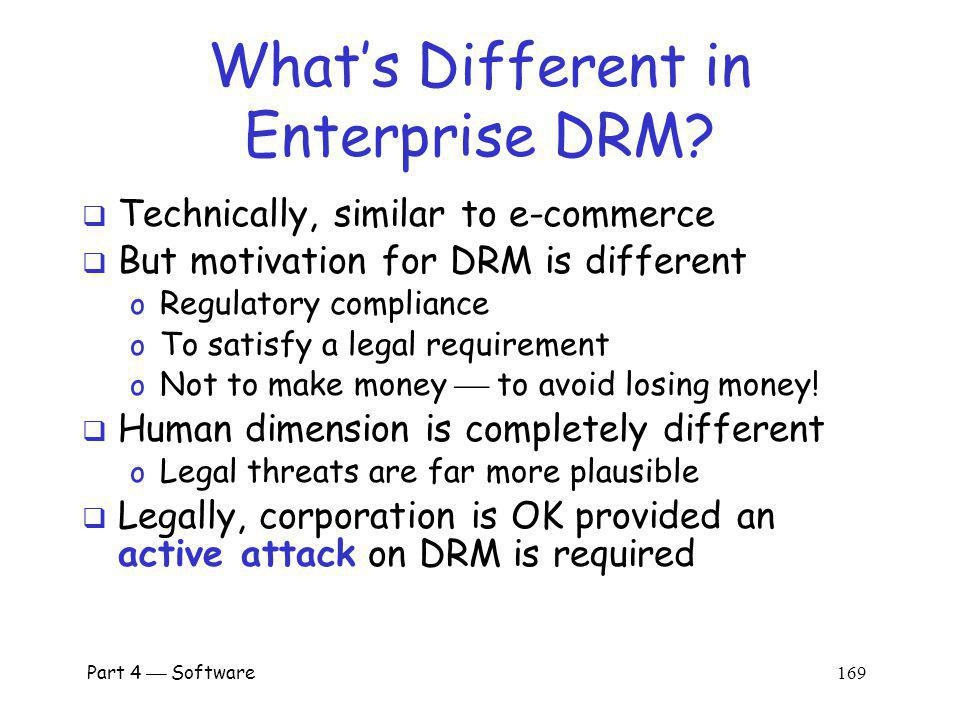 Part 4 Software 168 DRM in the Enterprise Why enterpise DRM.