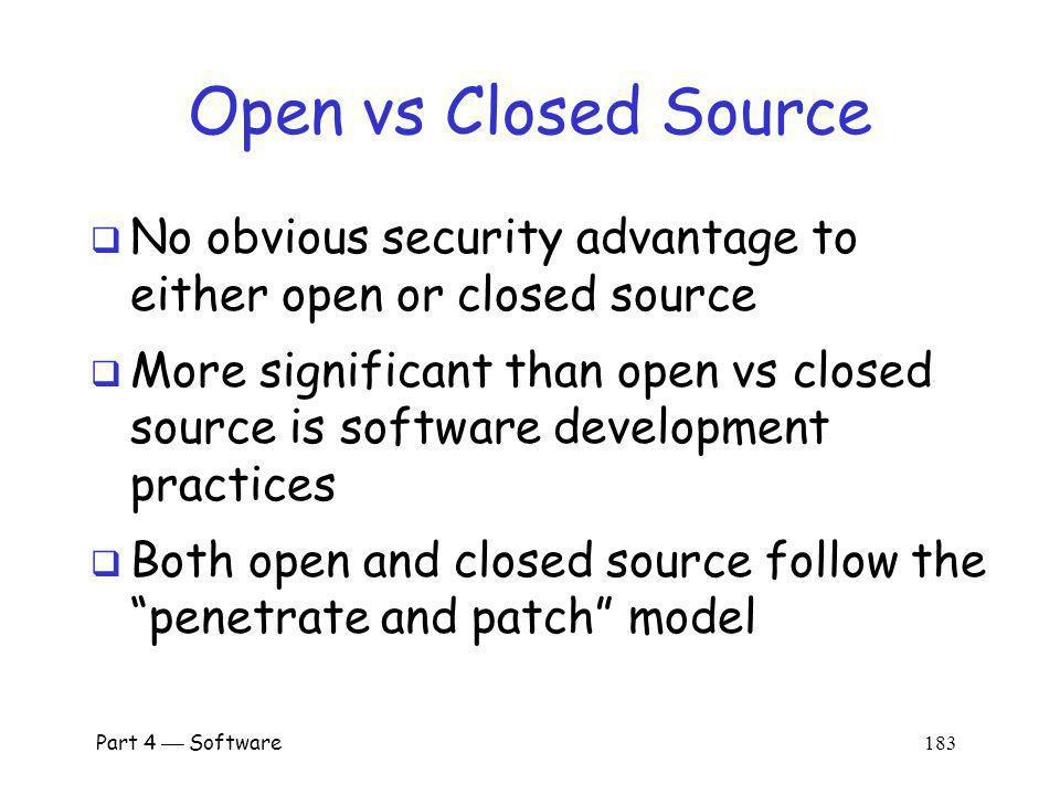 Part 4 Software 182 Open vs Closed Source Advocates of open source often cite the Microsoft fallacy which states 1.