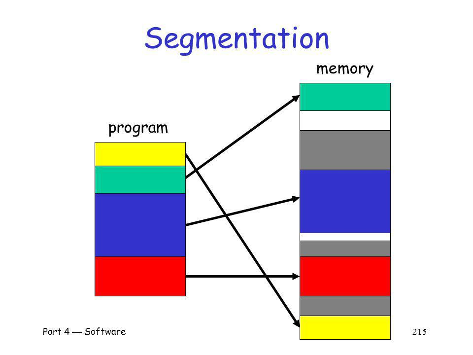 Part 4 Software 214 Segmentation Divide memory into logical units, such as o Single procedure o Data in one array, etc.
