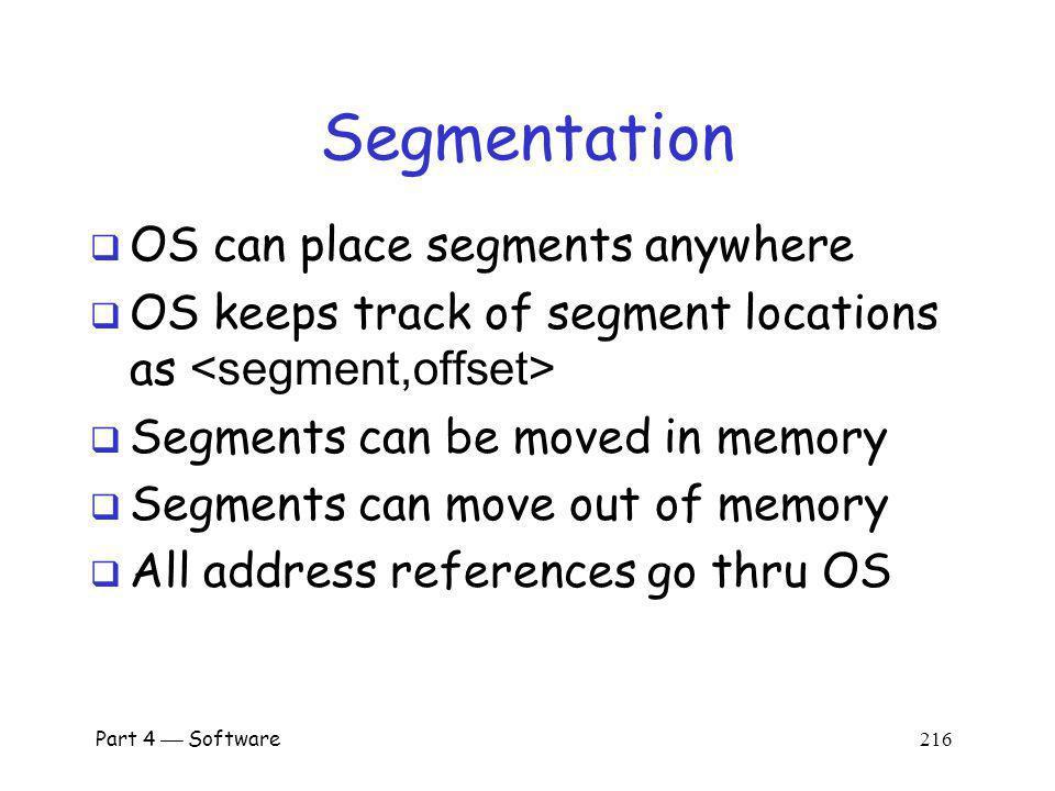 Part 4 Software 215 Segmentation program memory