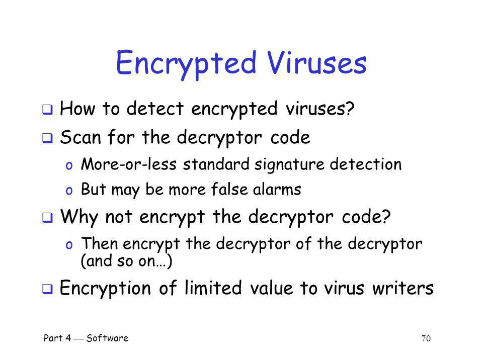 Part 4 Software 69 Encrypted Viruses Virus writers know signature detection used So, how to evade signature detection.