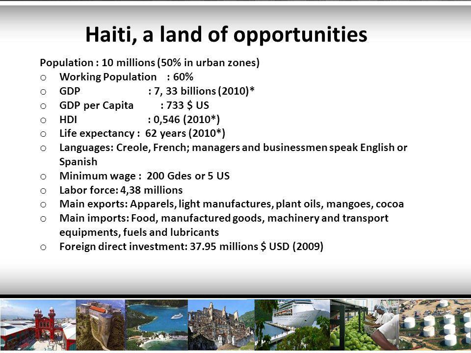 Agriculture The Agricultural and fishery sector is eager to find Bahamian partners to feed the 10,000,000 people of Haiti and the 30,000,000 people of the Caribbean.