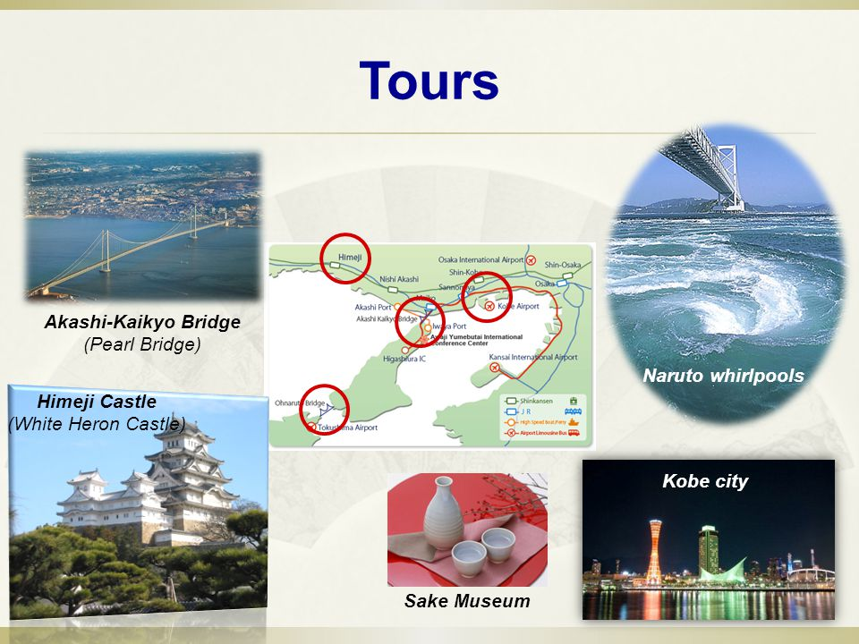 Tours Naruto whirlpools Akashi-Kaikyo Bridge (Pearl Bridge) Himeji Castle (White Heron Castle) Kobe city Sake Museum