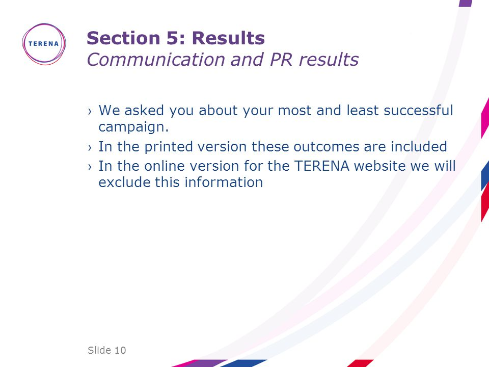 Section 5: Results Communication and PR results We asked you about your most and least successful campaign.