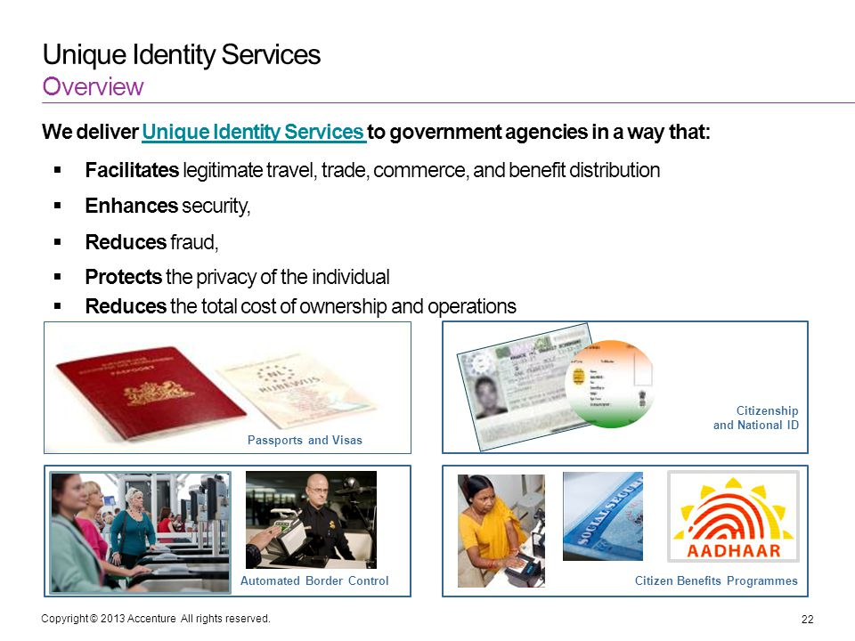 Copyright © 2013 Accenture All rights reserved. Unique Identity Services We deliver Unique Identity Services to government agencies in a way that:Uniq