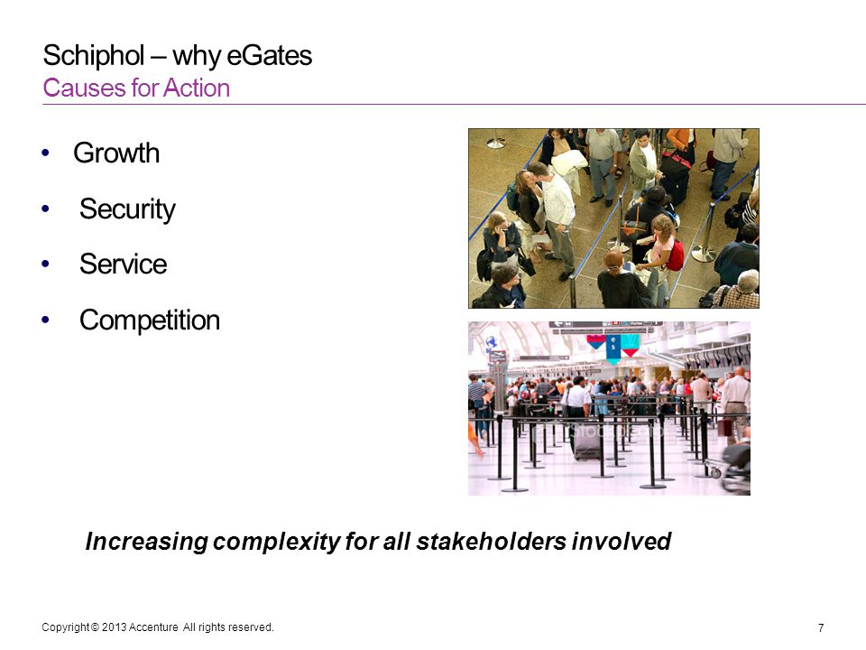 Copyright © 2013 Accenture All rights reserved. Schiphol – why eGates Growth Security Service Competition Causes for Action 7 Increasing complexity fo