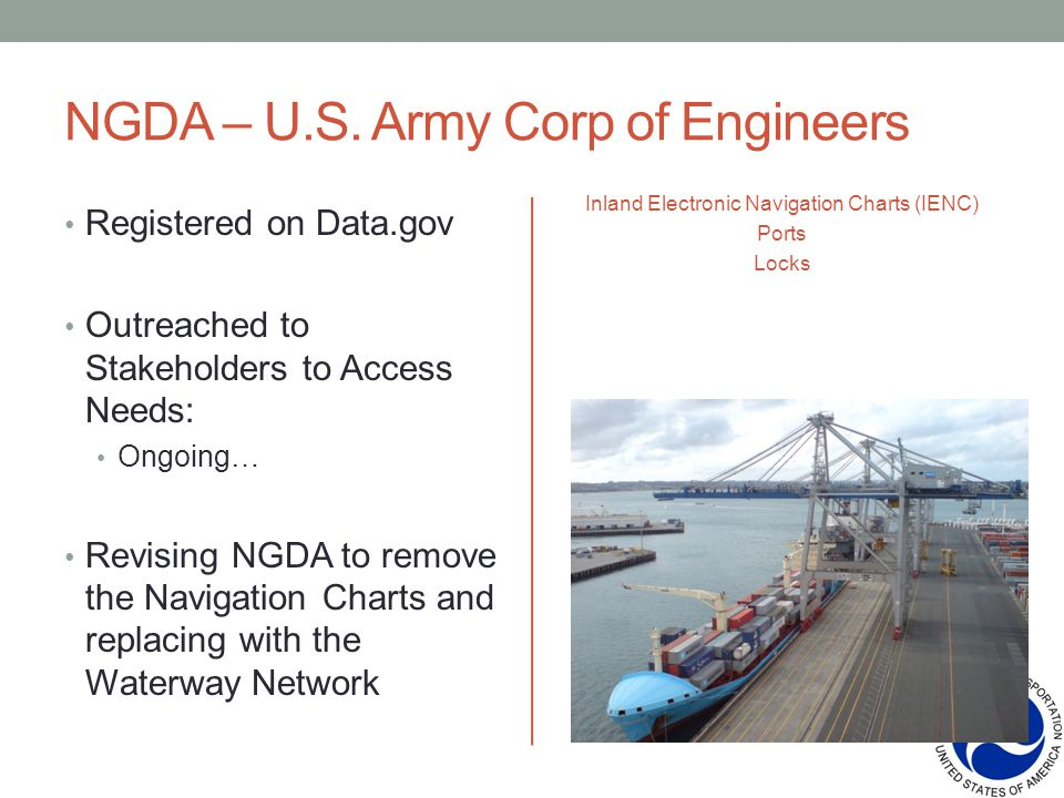NGDA – U.S. Army Corp of Engineers Inland Electronic Navigation Charts (IENC) Ports Locks Registered on Data.gov Outreached to Stakeholders to Access