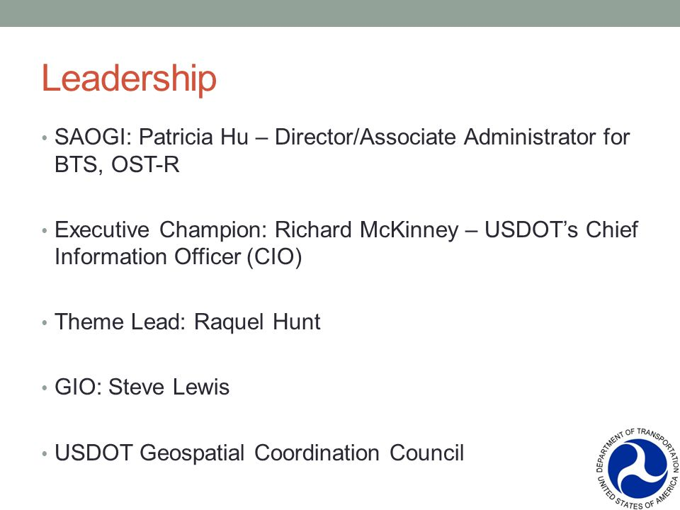 Leadership SAOGI: Patricia Hu – Director/Associate Administrator for BTS, OST-R Executive Champion: Richard McKinney – USDOTs Chief Information Officer (CIO) Theme Lead: Raquel Hunt GIO: Steve Lewis USDOT Geospatial Coordination Council