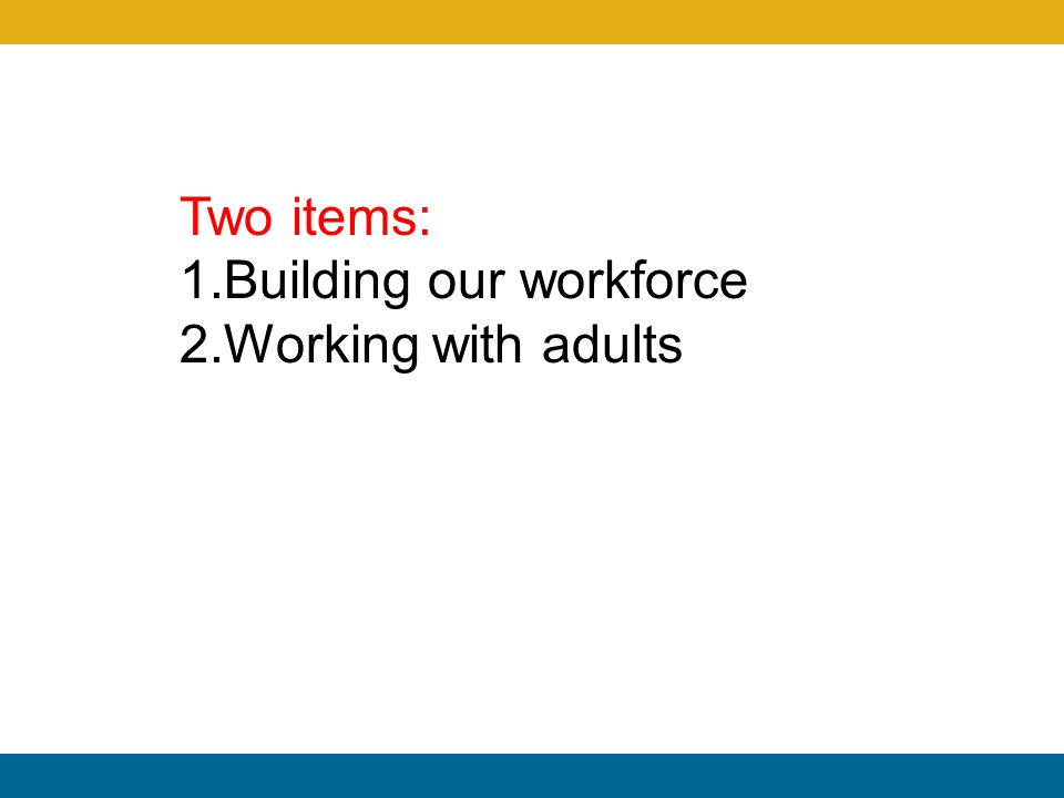 Two items: 1.Building our workforce 2.Working with adults
