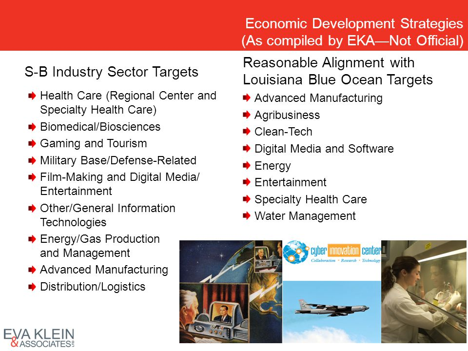 Economic Development Strategies (As compiled by EKANot Official) S-B Industry Sector Targets Health Care (Regional Center and Specialty Health Care) B