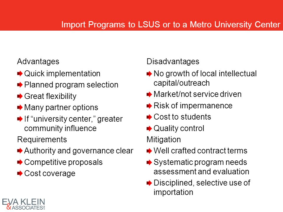 Import Programs to LSUS or to a Metro University Center Advantages Quick implementation Planned program selection Great flexibility Many partner optio