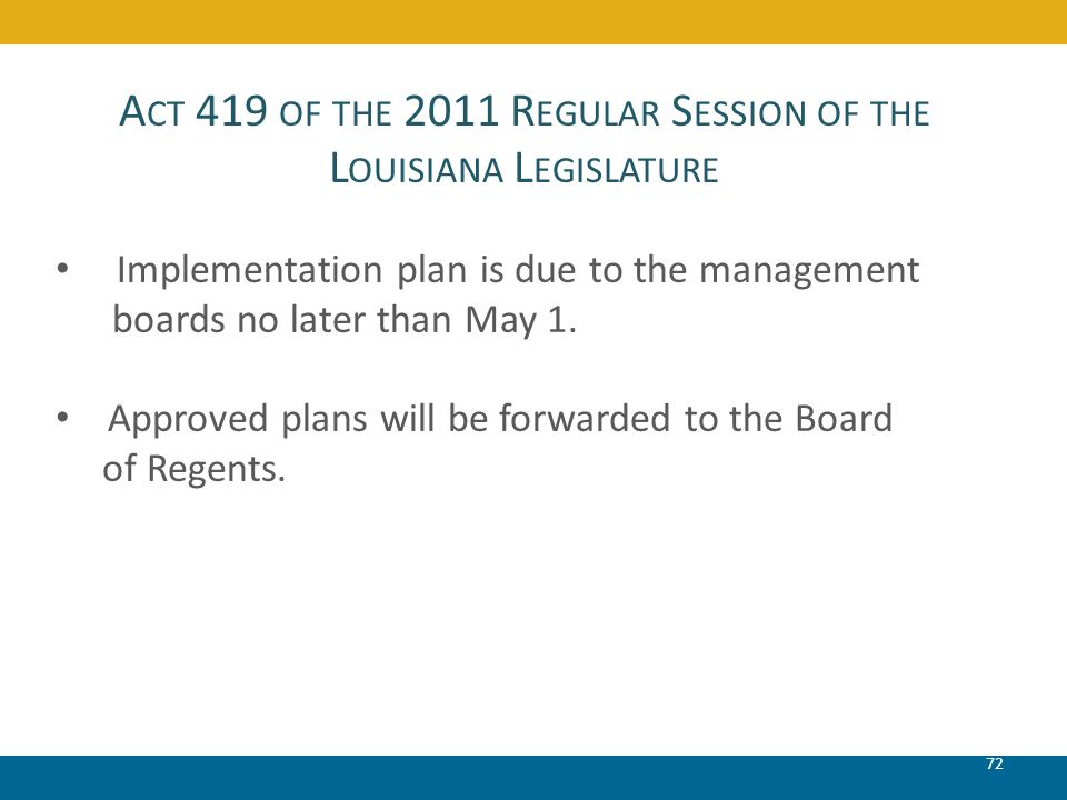 A CT 419 OF THE 2011 R EGULAR S ESSION OF THE L OUISIANA L EGISLATURE 72 Implementation plan is due to the management boards no later than May 1. Appr