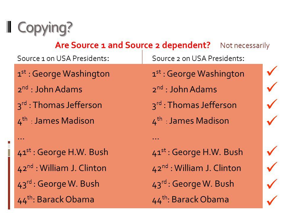Copying? Source 1 on USA Presidents : 1 st : George Washington 2 nd : John Adams 3 rd : Thomas Jefferson 4 th : James Madison … 41 st : George H.W. Bu