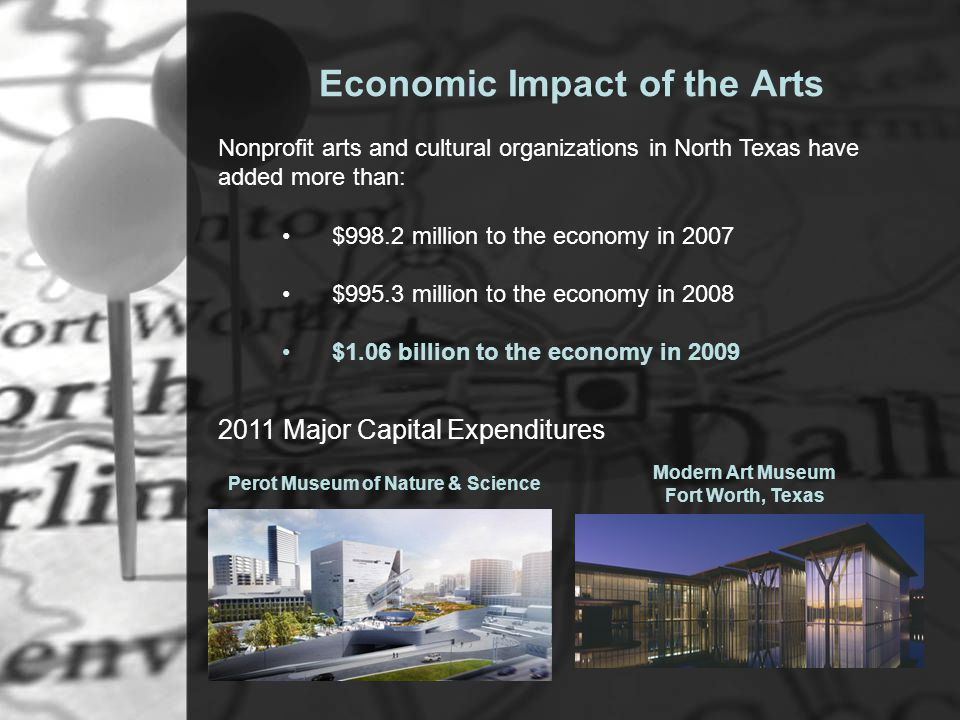 Economic Impact of the Arts $998.2 million to the economy in 2007 $995.3 million to the economy in 2008 $1.06 billion to the economy in 2009 2011 Major Capital Expenditures Perot Museum of Nature & Science Nonprofit arts and cultural organizations in North Texas have added more than: Modern Art Museum Fort Worth, Texas