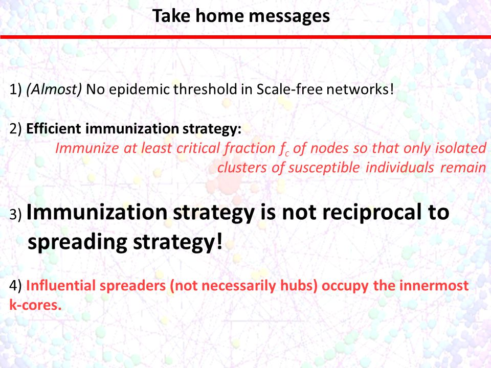 Take home messages No epidemic threshold in Scale-free networks.