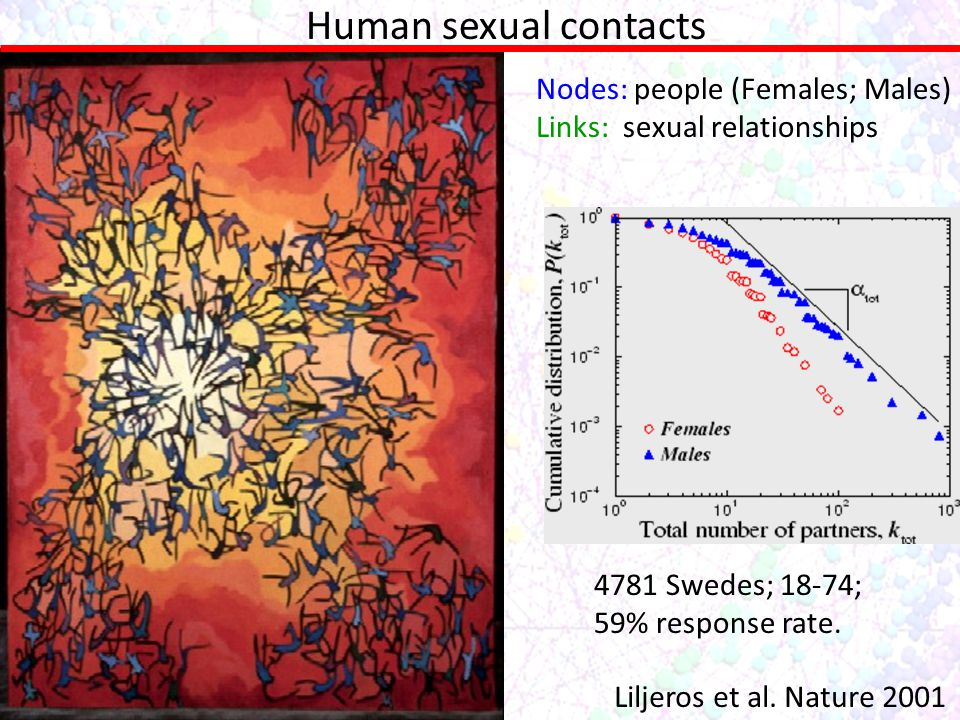 Human sexual contacts Nodes: people (Females; Males) Links: sexual relationships Liljeros et al. Nature 2001 4781 Swedes; 18-74; 59% response rate.