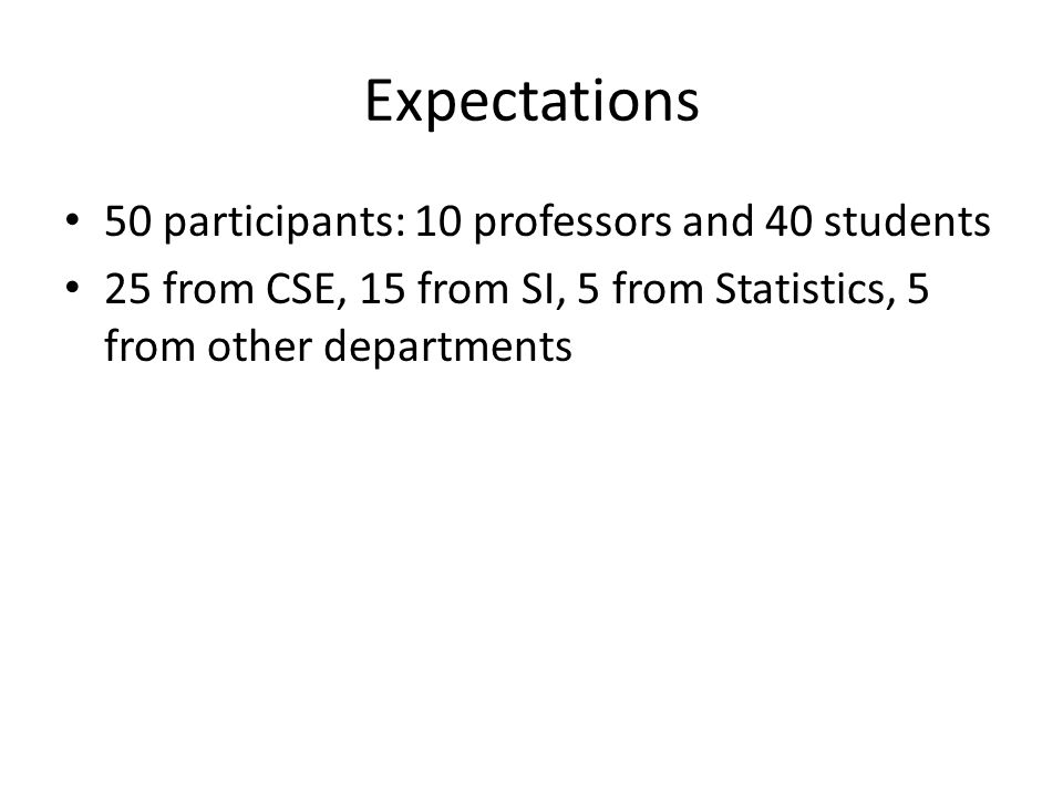 Expectations 50 participants: 10 professors and 40 students 25 from CSE, 15 from SI, 5 from Statistics, 5 from other departments