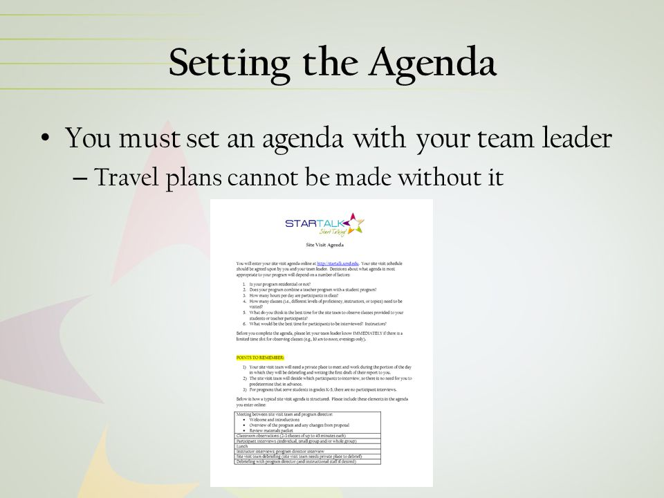Setting the Agenda You must set an agenda with your team leader – Travel plans cannot be made without it