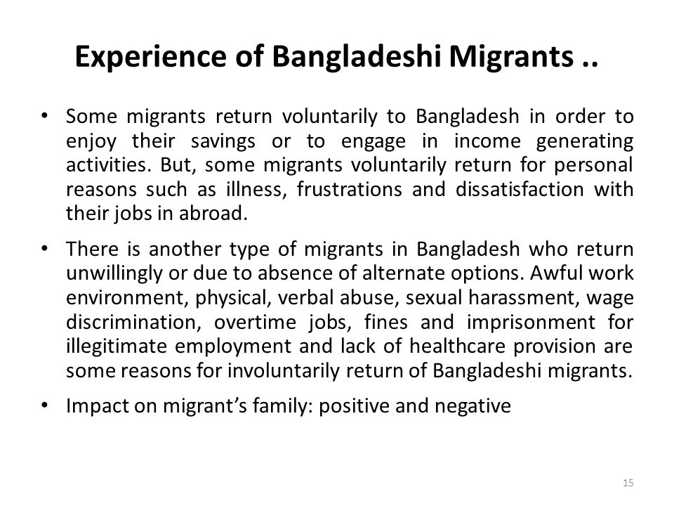 Experience of Bangladeshi Migrants..