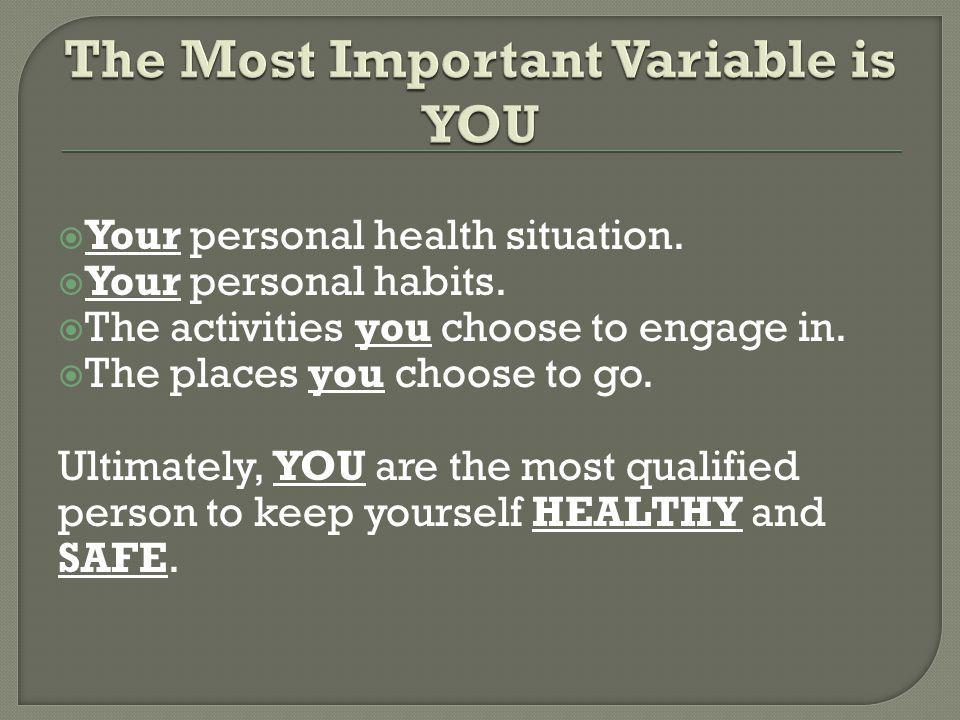 Your personal health situation. Your personal habits.