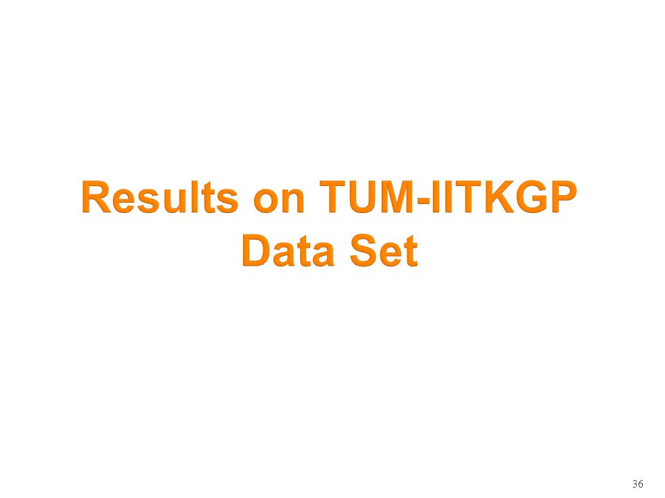 36 Results on TUM-IITKGP Data Set