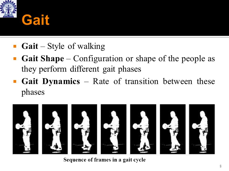 Gait – Style of walking Gait Shape – Configuration or shape of the people as they perform different gait phases Gait Dynamics – Rate of transition between these phases 8 Sequence of frames in a gait cycle