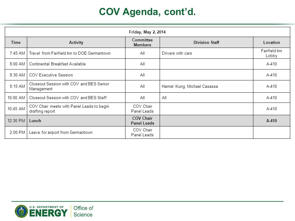 COV Agenda, contd. Friday, May 2, 2014 TimeActivity Committee Members Division StaffLocation 7:45 AMTravel from Fairfield Inn to DOE GermantownAllDriv