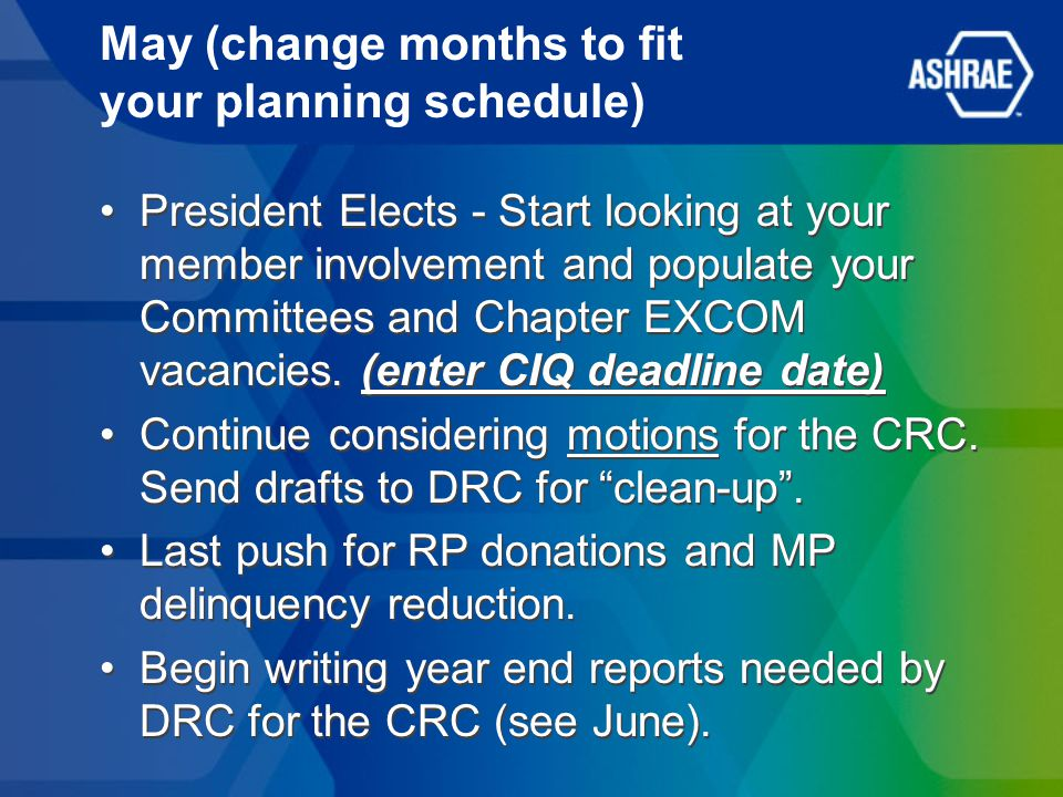 May (change months to fit your planning schedule) President Elects - Start looking at your member involvement and populate your Committees and Chapter
