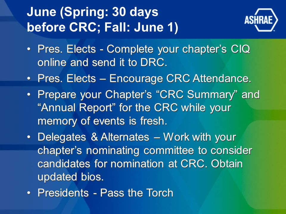 June (Spring: 30 days before CRC; Fall: June 1) Pres. Elects - Complete your chapters CIQ online and send it to DRC. Pres. Elects – Encourage CRC Atte