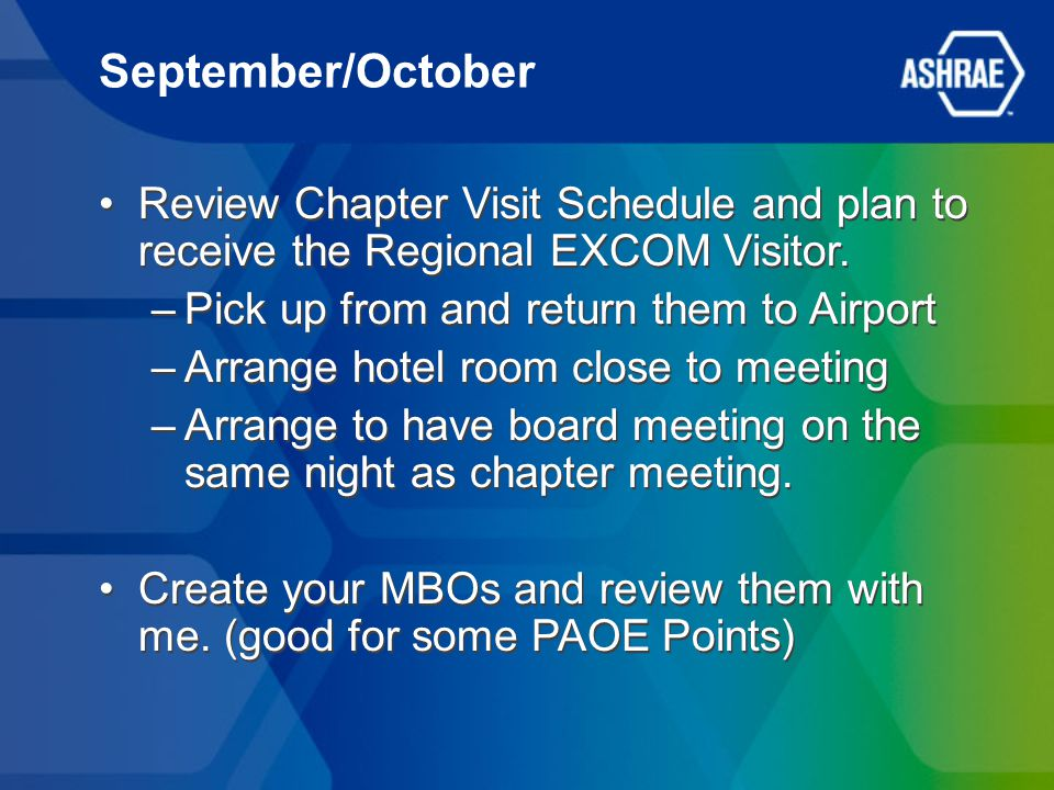 September/October Review Chapter Visit Schedule and plan to receive the Regional EXCOM Visitor.