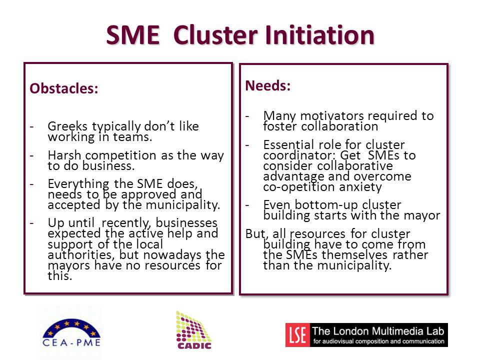 SME Cluster Initiation Obstacles: -Greeks typically dont like working in teams.