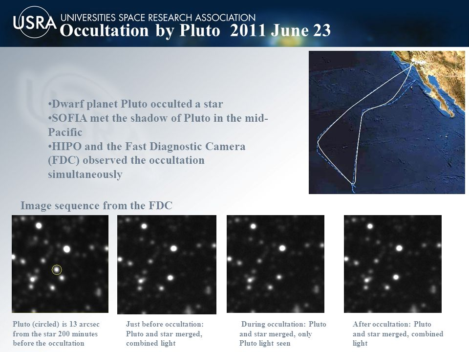 Occultation by Pluto 2011 June 23 Dwarf planet Pluto occulted a star SOFIA met the shadow of Pluto in the mid- Pacific HIPO and the Fast Diagnostic Camera (FDC) observed the occultation simultaneously Image sequence from the FDC Pluto (circled) is 13 arcsec from the star 200 minutes before the occultation Just before occultation: Pluto and star merged, combined light During occultation: Pluto and star merged, only Pluto light seen After occultation: Pluto and star merged, combined light