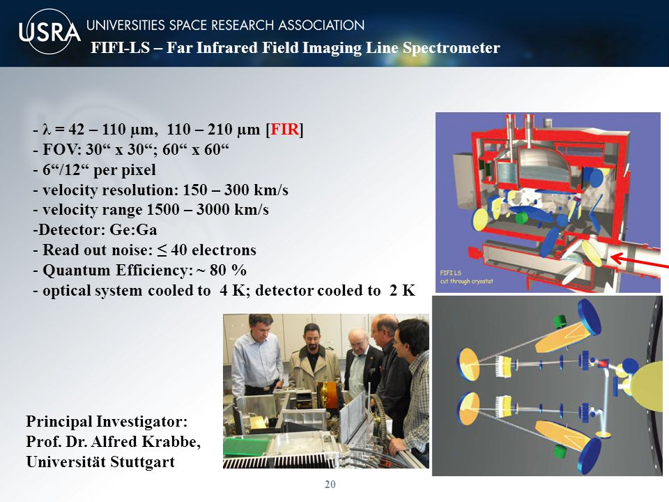20 FIFI-LS – Far Infrared Field Imaging Line Spectrometer Principal Investigator: Prof.