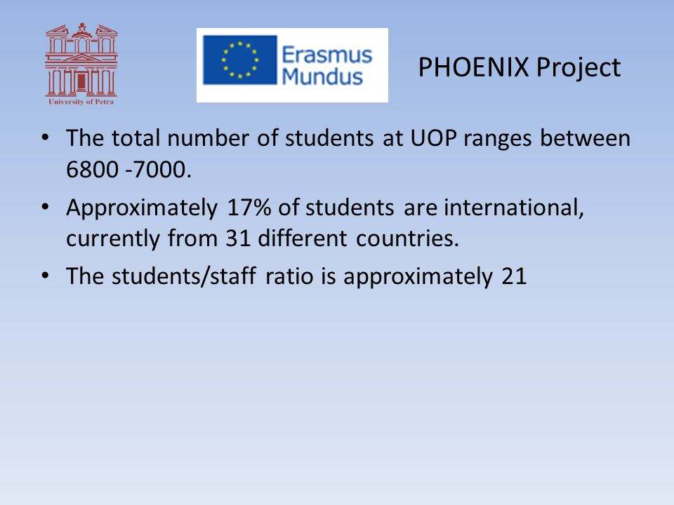 PHOENIX Project The total number of students at UOP ranges between 6800 -7000.