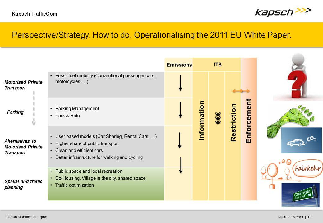 Kapsch TrafficCom |Urban Mobility ChargingMichael Weber13 Perspective/Strategy.