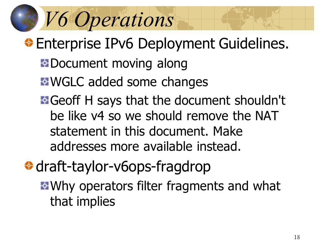 Enterprise IPv6 Deployment Guidelines.