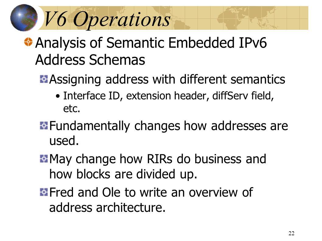 Analysis of Semantic Embedded IPv6 Address Schemas Assigning address with different semantics Interface ID, extension header, diffServ field, etc.
