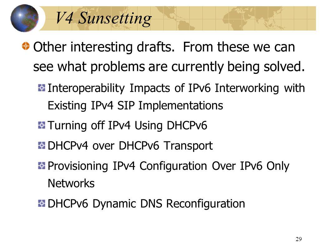 V4 Sunsetting Other interesting drafts.