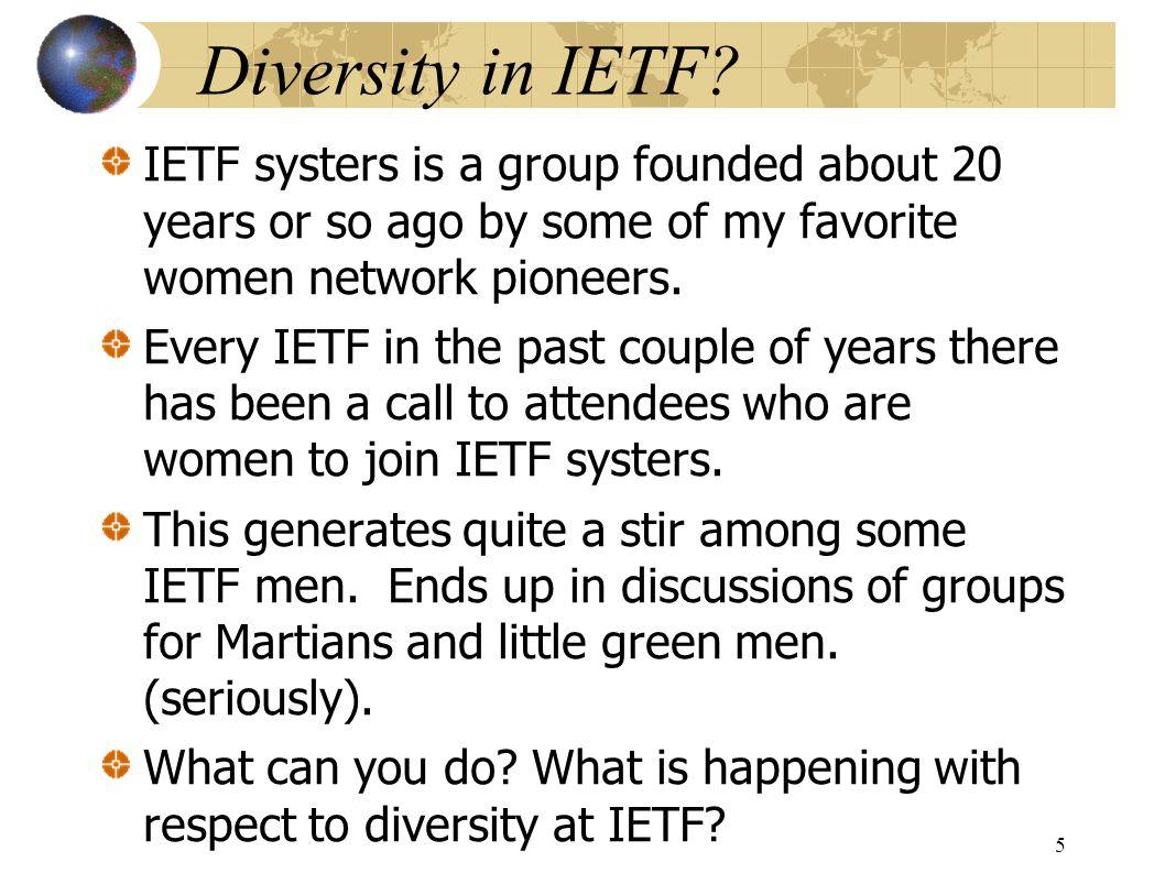 Diversity in IETF.