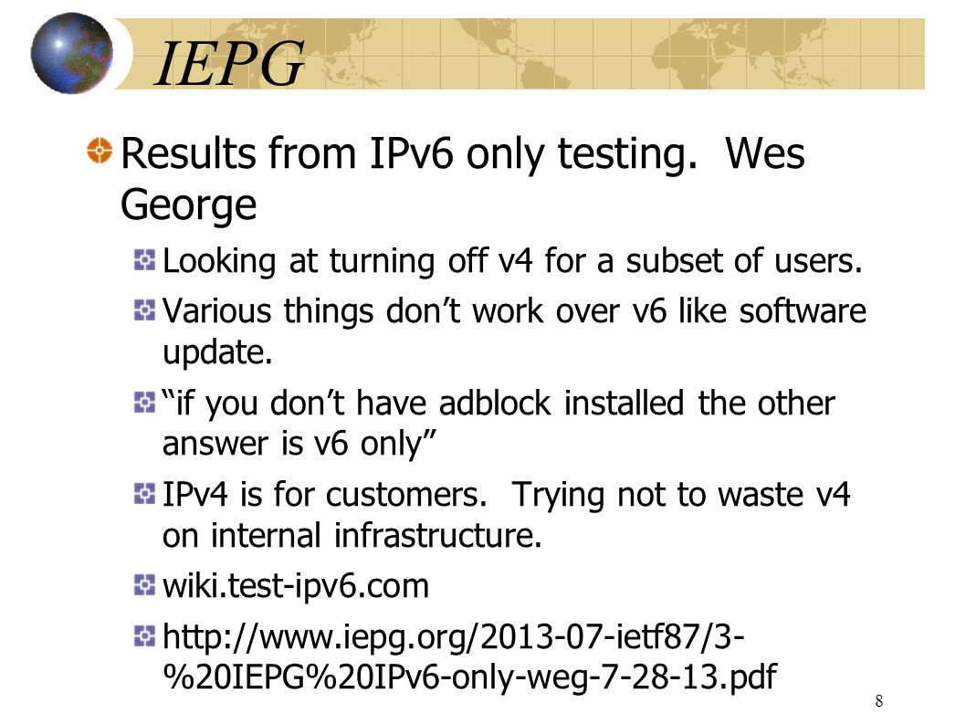 Monitoring Dual Stack/IPv6-only Networks and Services Guideline document.