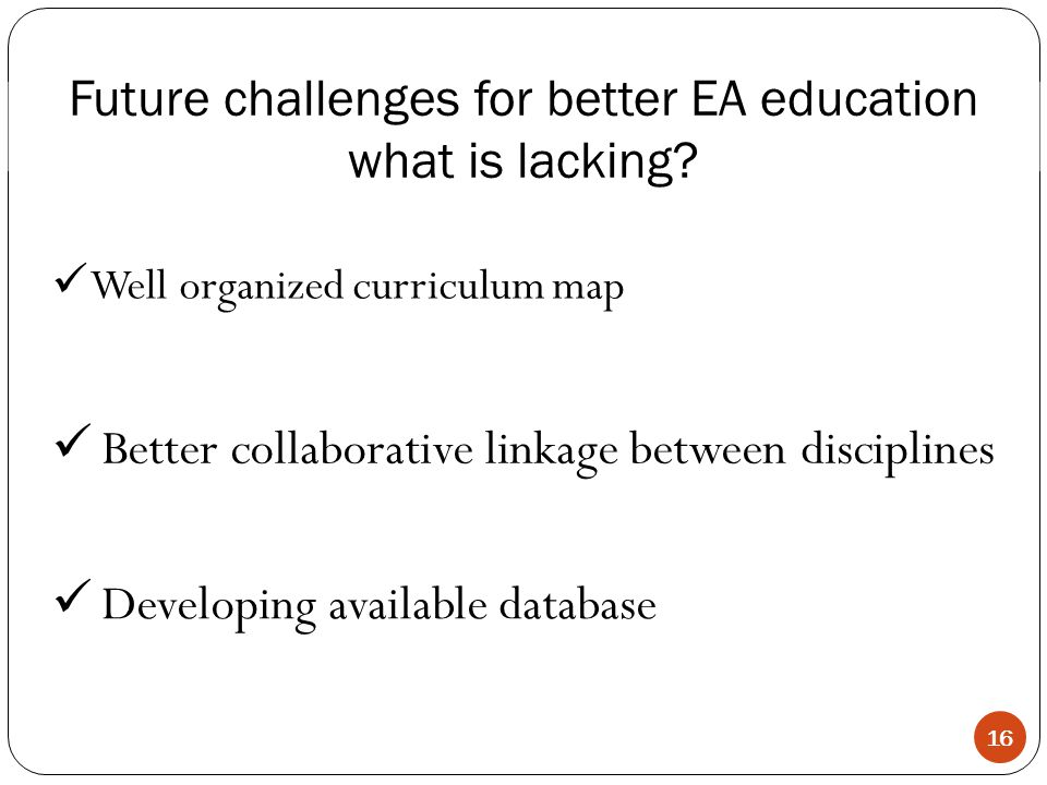Better collaborative linkage between disciplines Future challenges for better EA education what is lacking.