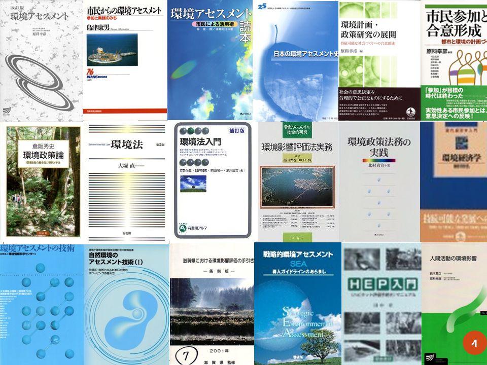 Key Textbooks for EA teaching (in Japanese) Environmental Assessment, Harashina,S., open university press, 2000, 331p.