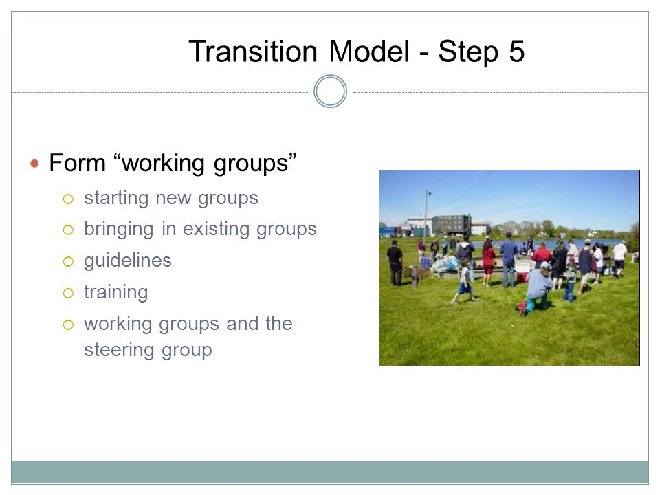 Transition Model - Step 5 Form working groups starting new groups bringing in existing groups guidelines training working groups and the steering group