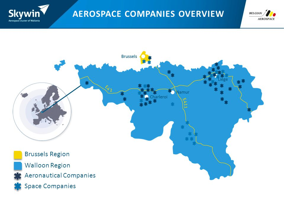 AEROSPACE COMPANIES OVERVIEW Brussels Region Walloon Region Aeronautical Companies Space Companies