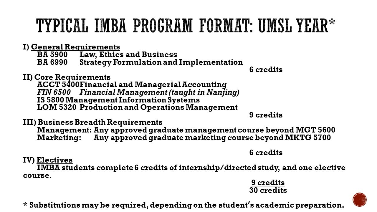 I) General Requirements BA 5900Law, Ethics and Business BA 6990Strategy Formulation and Implementation 6 credits II) Core Requirements ACCT 5400Financial and Managerial Accounting FIN 6500Financial Management (taught in Nanjing) IS 5800Management Information Systems LOM 5320Production and Operations Management 9 credits III) Business Breadth Requirements Management:Any approved graduate management course beyond MGT 5600 Marketing:Any approved graduate marketing course beyond MKTG 5700 6 credits IV) Electives IMBA students complete 6 credits of internship/directed study, and one elective course.